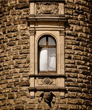 Open window in medieval tower Royalty Free Stock Photography