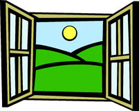 Open window in the morning vector illustration Stock Photos