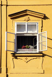 Open window in Old town of Prague, Czech Republic Royalty Free Stock Photography