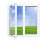 Open window with picturesque view. Of blue sky and green grass, isolated on white stock images