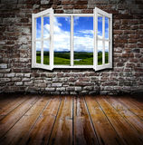 Open window in a room. An open window in an old grunge room Royalty Free Stock Image