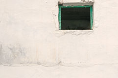 Open Window,Rustic White Walled Building Stock Photo