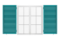 Open window with shutters isolated Royalty Free Stock Photography