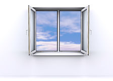 Open window with a sky background Royalty Free Stock Photos