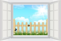 Open window with Spring background, grass and wooden fence Royalty Free Stock Photos