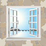 Open window in stone wall Royalty Free Stock Images