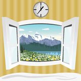 Open window with summer mountain landscape view Royalty Free Stock Image