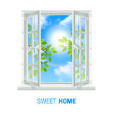 Open Window Sunny Day realistic Icon. Open white window on bright sunny day realistic indoor view icon with green leaves outside vector illustration Royalty Free Stock Photo
