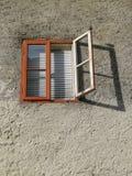 Open window in sunshine,Cesky Krumlov. Czech Republic Royalty Free Stock Photo
