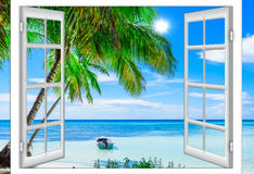 Open window to the sea. Open window view of the sea good weather summer Stock Photos