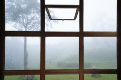 Open window to see trees in the fog in Thailand Royalty Free Stock Photo
