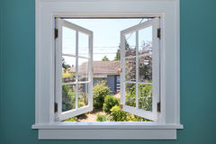 Open Window To The Back Yard With Small Shed. Stock Images