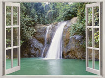 Open window to view waterfall Royalty Free Stock Images