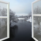 Open window to the winter river Royalty Free Stock Images