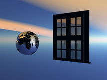 Open the window to the world. Welt Spiegelung Stock Illustration