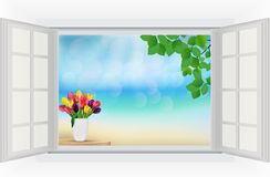 Open window with tulip flowers and leaf in rainbow colours. Illustration of Open window with tulip flowers and leaf in rainbow colours royalty free illustration