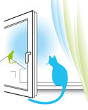 Open window and two cats. Blue cat sitting on the windowsill near curtains and watching through the window Royalty Free Stock Image