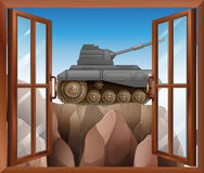 An open window with a view of the armoured tank. Illustration of an open window with a view of the armoured tank Stock Image