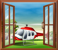 An open window with a view of the chopper Royalty Free Stock Photos