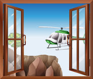 An open window with a view of the chopper vector illustration