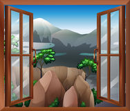 An open window with a view of the cliff Royalty Free Stock Images