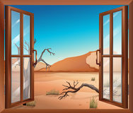 An open window with a view of the desert Stock Photos