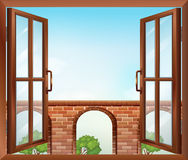 An open window with a view of the gate. Illustration of an open window with a view of the gate stock illustration