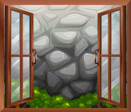 An open window with a view of the stonewall. Illustration of an open window with a view of the stonewall Stock Images