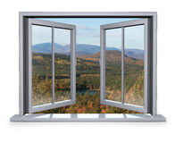 Open window with a view to the mountain. Open white window with a view to the mountain Stock Photography