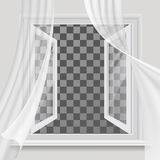 Open window and waving transparent curtain. White open window and waving in the wind transparent curtain royalty free illustration
