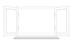 Open window on a white background, it is isolated Royalty Free Stock Photography
