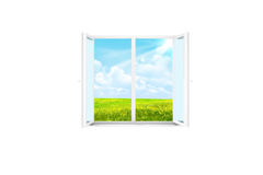 Open window in a white room royalty free stock images