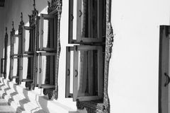 Open windows. Windows of wat Chakrawat ordination hall in Bangkok, Thailand Royalty Free Stock Photo