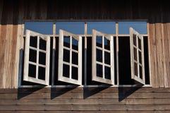 Open windows. On a wooden Thai house Royalty Free Stock Photos