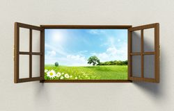 Open windows with a nice green field view. 3D illustration.  Stock Photo
