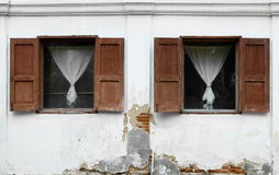 Open windows of old building Royalty Free Stock Image
