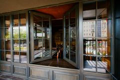 Open windows in a restaurant stock photos