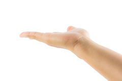 Open woman hand for give Stock Images