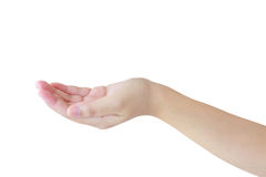 Open a woman's hand, palm up isolated on white Stock Image