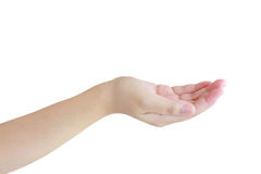 Open a woman's hand, palm up isolated on white Royalty Free Stock Photo