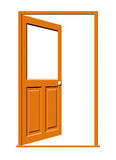 Open Wood Door with Blank Window. Illustration of an open wooden door with a blank white window isolated on a white background stock illustration