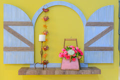Open wood window with flowers Royalty Free Stock Photo