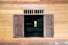 Open wood window and wood wall Royalty Free Stock Image