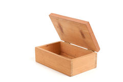 Open wooden box. Open wooden tea box isolated white back ground Royalty Free Stock Photography