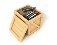 Open wooden box with bottles of wine inside Royalty Free Stock Photo