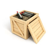 Open wooden box with bottles of wine inside Stock Photography