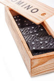 Open wooden box with domino Royalty Free Stock Photography