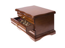 Open wooden box from drawers on jewellery Royalty Free Stock Photo