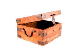 Open wooden box isolated on white background. A wooden treasure chest box with lid open isolated on a white background Royalty Free Stock Photo