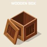 Open wooden box isometric Royalty Free Stock Photos